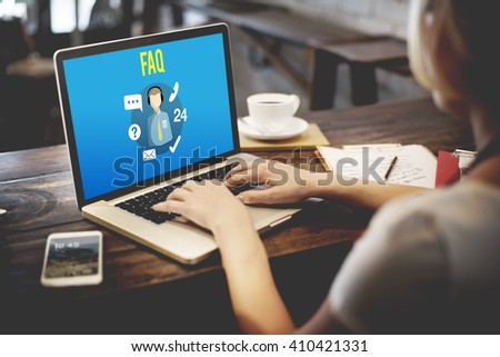 FAQ Enquiry Questions Guide Customer Support Concept - stock photo