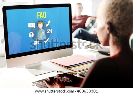 FAQ Inquiry Questions Guide Customer Support Concept - stock photo