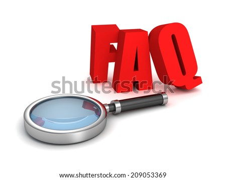 FAQ red letters with magnifier glass. 3d render illustration - stock photo