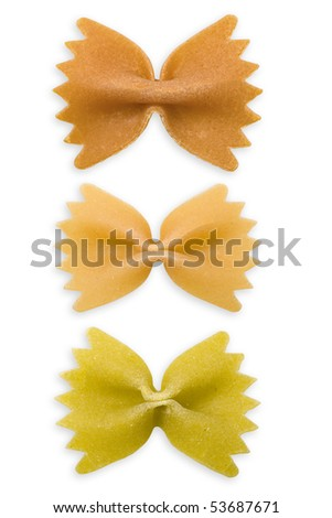 Farfalle pasta, isolated, three colors. Clipping path. - stock photo