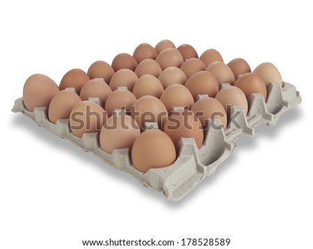 30 farm fresh organic brown eggs in a tray on white with clipping path - stock photo