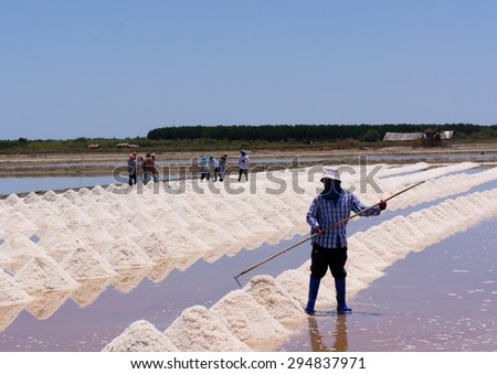 Farmers harvesting salt in salt fields  - stock photo