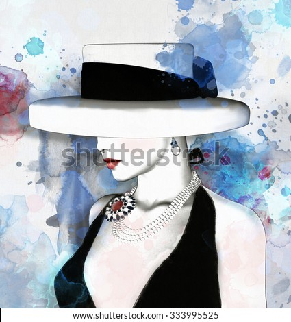 Fashion sketch of  a woman with hat - stock photo