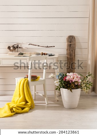 feature wall study nook in modern living room - stock photo