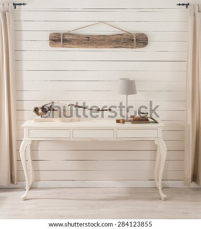feature wall study nook in natural living room - stock photo