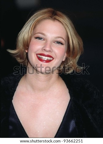 16FEB97:  Actress DREW BARRYMORE arriving at the Pantages Theatre, Hollywood, for Elizabeth Taylor's birthday celebration gala.    Pix: PAUL SMITH - stock photo