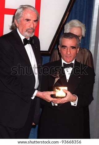 20FEB97: Director MARTIN SCORSESE (right) with actor GREGORY PECK at the Beverly Hilton where he was honored with the American Film Institute's Lifetime Achievement Award.   Pix: PAUL SMITH - stock photo