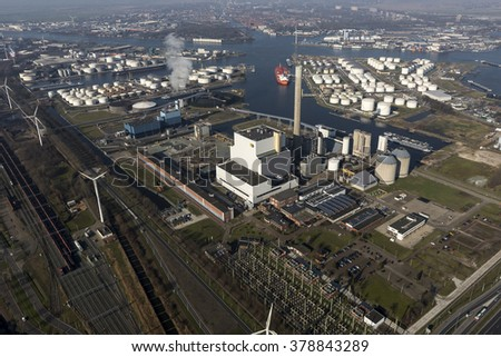 17 Februari 2016, Amsterdam. Aerial view of powerplant Hemwegcentrale from Nuon Vattenfall in the Amsterdam Harbour.