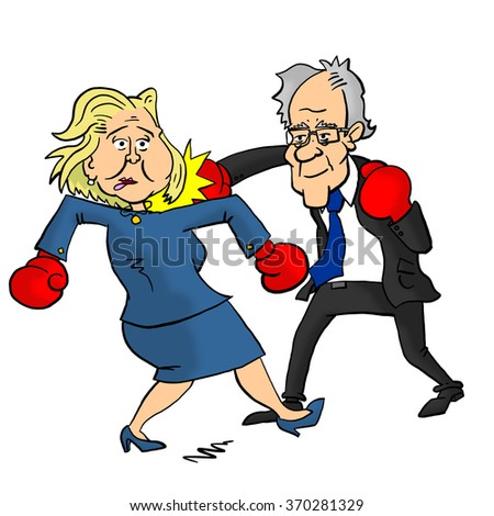 01 February, 2016: Bernie Sanders beating Hillary Clinton - stock photo
