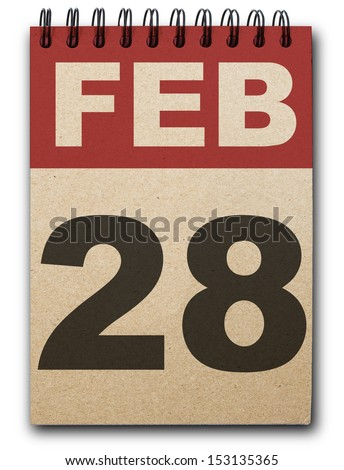 28  February calendar on recycle paper - stock photo