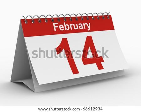 14 february calendar on white background. Isolated 3D image - stock photo