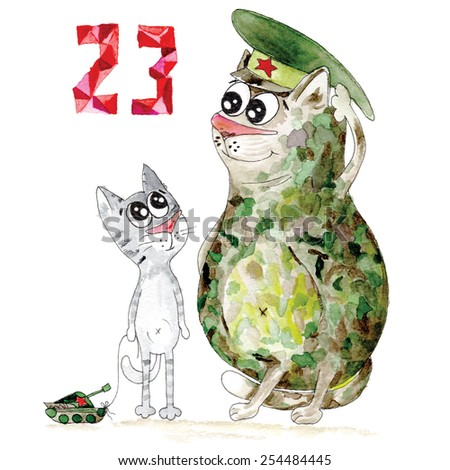 23 february illustration with cute army cat and kitten - stock photo