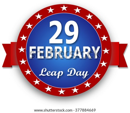 29 February Leap Day - blue red on a white background.