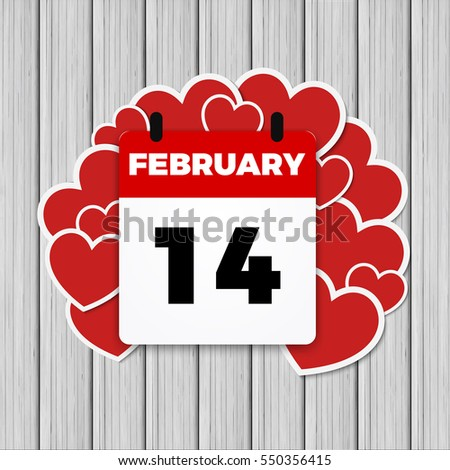 14 february valentines day calendar heart stock illustration, Ideas