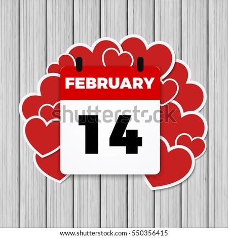 14 february valentines day calendar heart stock illustration, Ideas