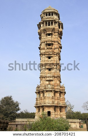 122 feet tall, 9 storied monument Vijay Sthambh (Victory Tower) having 157 stairs at Chittorgarh Fort, Rajasthan, India, Asia - stock photo