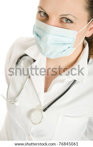 Female doctor with lab coat and stethoscope wearing a mask