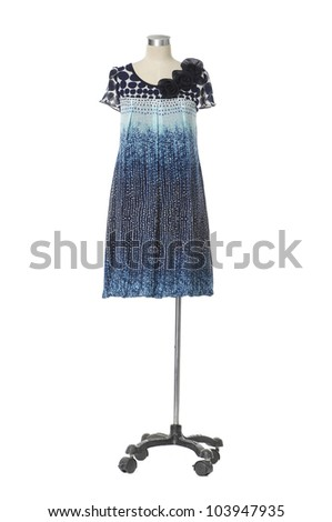 female fashion clothes on a mannequin-white background - stock photo