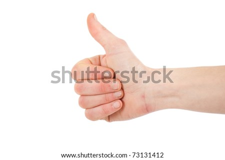 Female hand gesturing the OK symbol isolated on white - stock photo