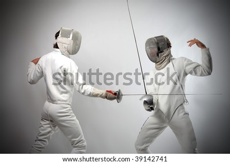 fencing players - stock photo