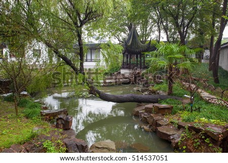 Fengqiao scenic area scenery. It is one of famous gardens in Suzhou of China.