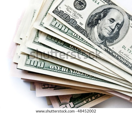 few 100 dollar bills on white background - stock photo