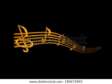 Fiery music notes on a black background - stock photo