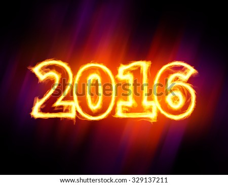 2016 fiery symbol - stock photo