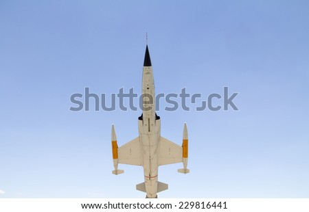 fighter jet from below - vintage model - stock photo