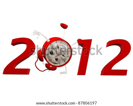 2012 figures and character clock. Isolated 3D image - stock photo