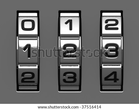 1, 2, 3 figures from combination lock alphabet - stock photo