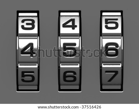 4, 5, 6 figures from combination lock alphabet - stock photo