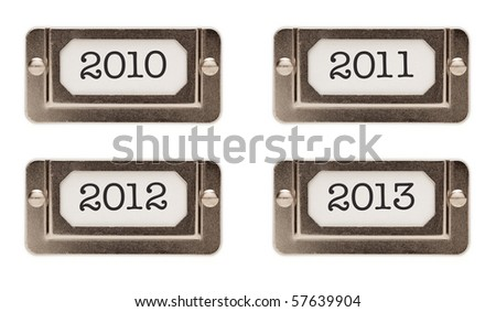 2010, 2011, 2012, 2013 File Drawer Labels Each Isolated on a White Background. - stock photo