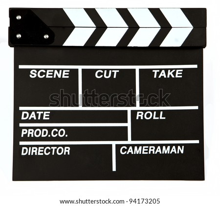 Film makers clapper board, on white background, cut out