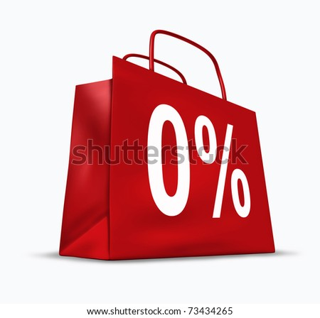 0% financing symbol represented by no interest rate percentage on credit purchases. - stock photo