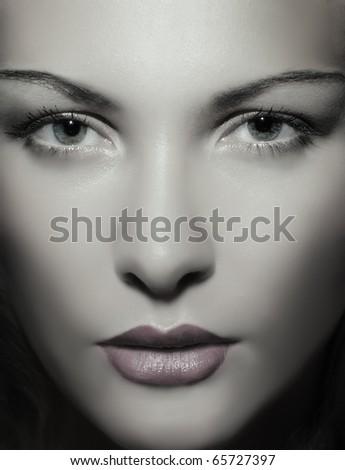 Fine portrait of a young beautiful woman . Fashion art photo - stock photo