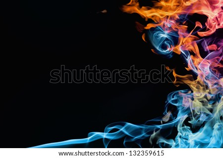 Fire and smoke. Abstract background - stock photo