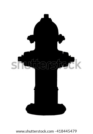 fire hydrant silhouette isolated with clipping path at this size - stock photo