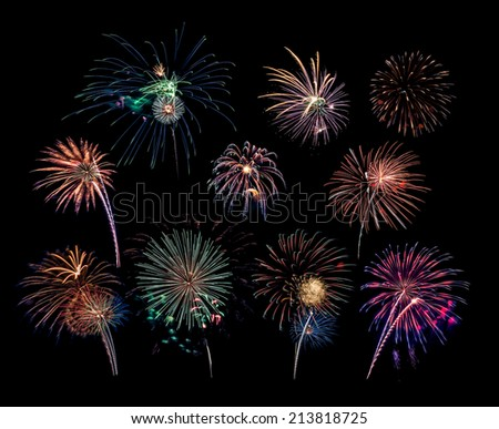 10 Firework Blasts - 4th of July celebration in the United States - stock photo