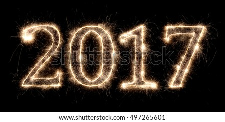 2017 firework sparkler bright glowing new years eve font lettering number date