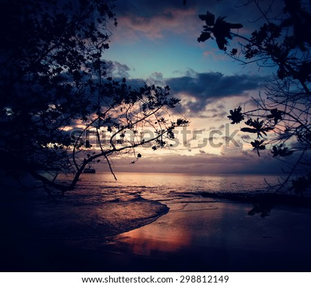 Fireworks at sunset on the beach. Guanacaste, Costa Rica. Summer, vacation, travel and nature concept - stock photo