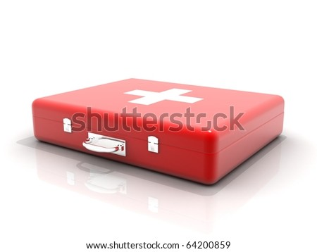 First aid box isolated in white background