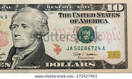 First Secretary of Treasury Alexander Hamilton.  portrait from 10 dollars banknote - stock photo