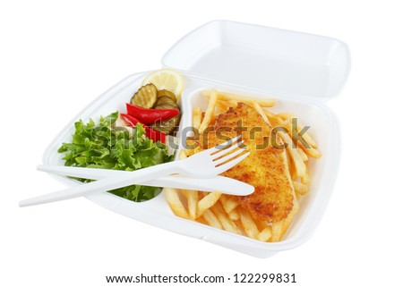 Fish and chips portion from fast food restaurant , isolated on white - stock photo