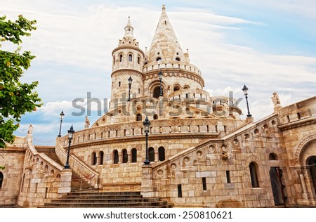 Fisherman Bastion on the Buda Castle hill in Budapest, Hungary - stock photo