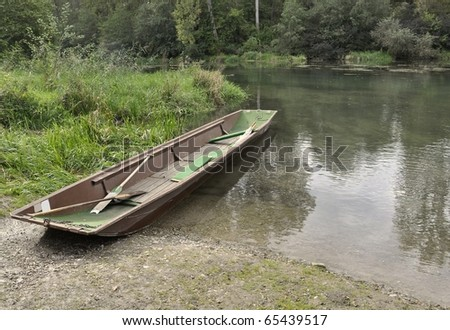 fishing boat moored at the  nature Sanctuary Taubergiessen, Rust Baden Germany