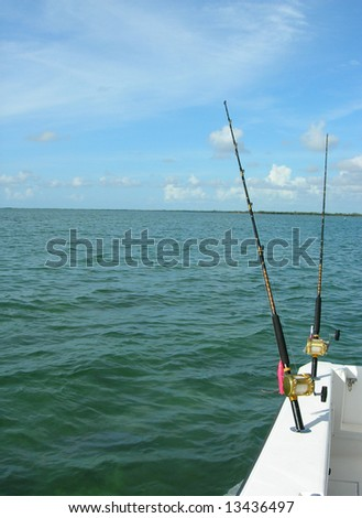 Fishing Rods on a sporstfishing vessel in the Biscayne Bay Park, Miami Florida - stock photo