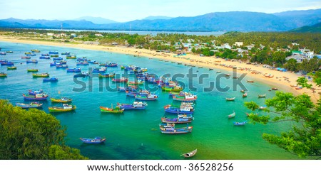 Fishing village. Song cau. Phu Yen. Vietnam