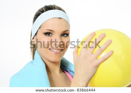 fitness coach with sportive accessories - stock photo