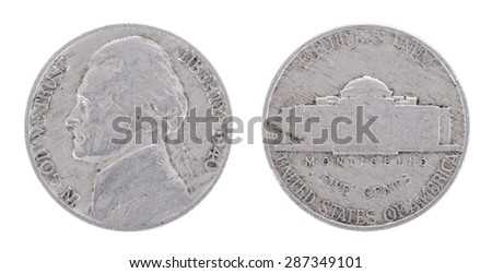 1940 five cents - Jefferson Nickel. USA. Both sides isolated on white background. Old coin. - stock photo